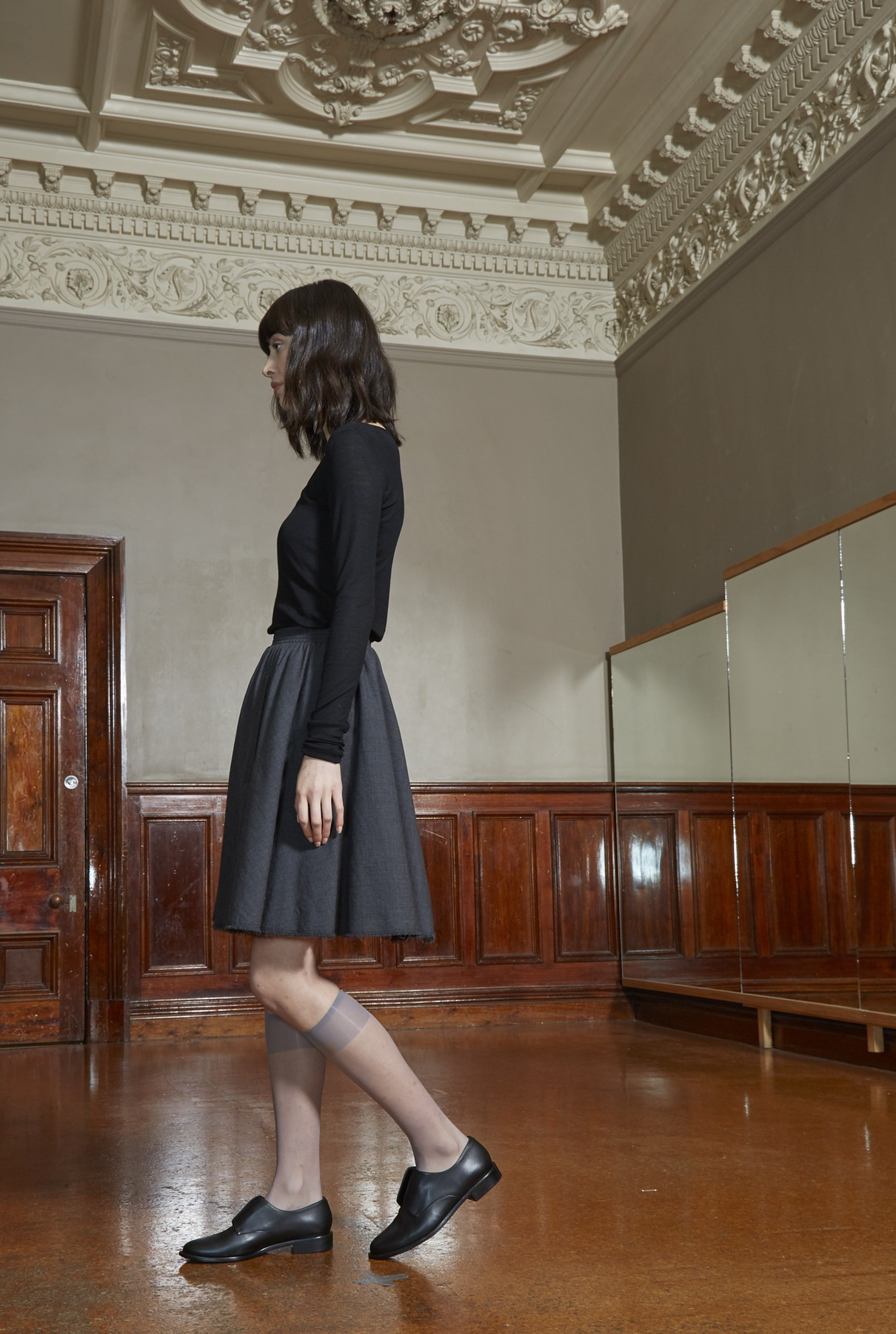 wide neck tee/black