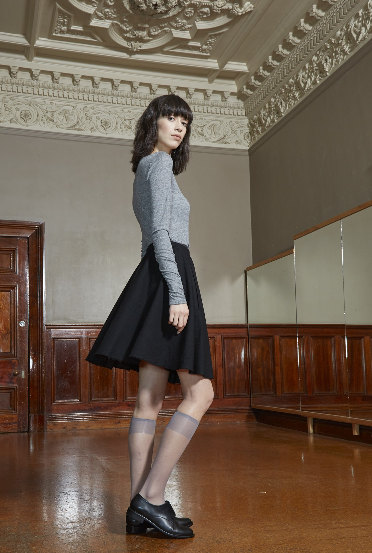 wide neck tee/soft grey