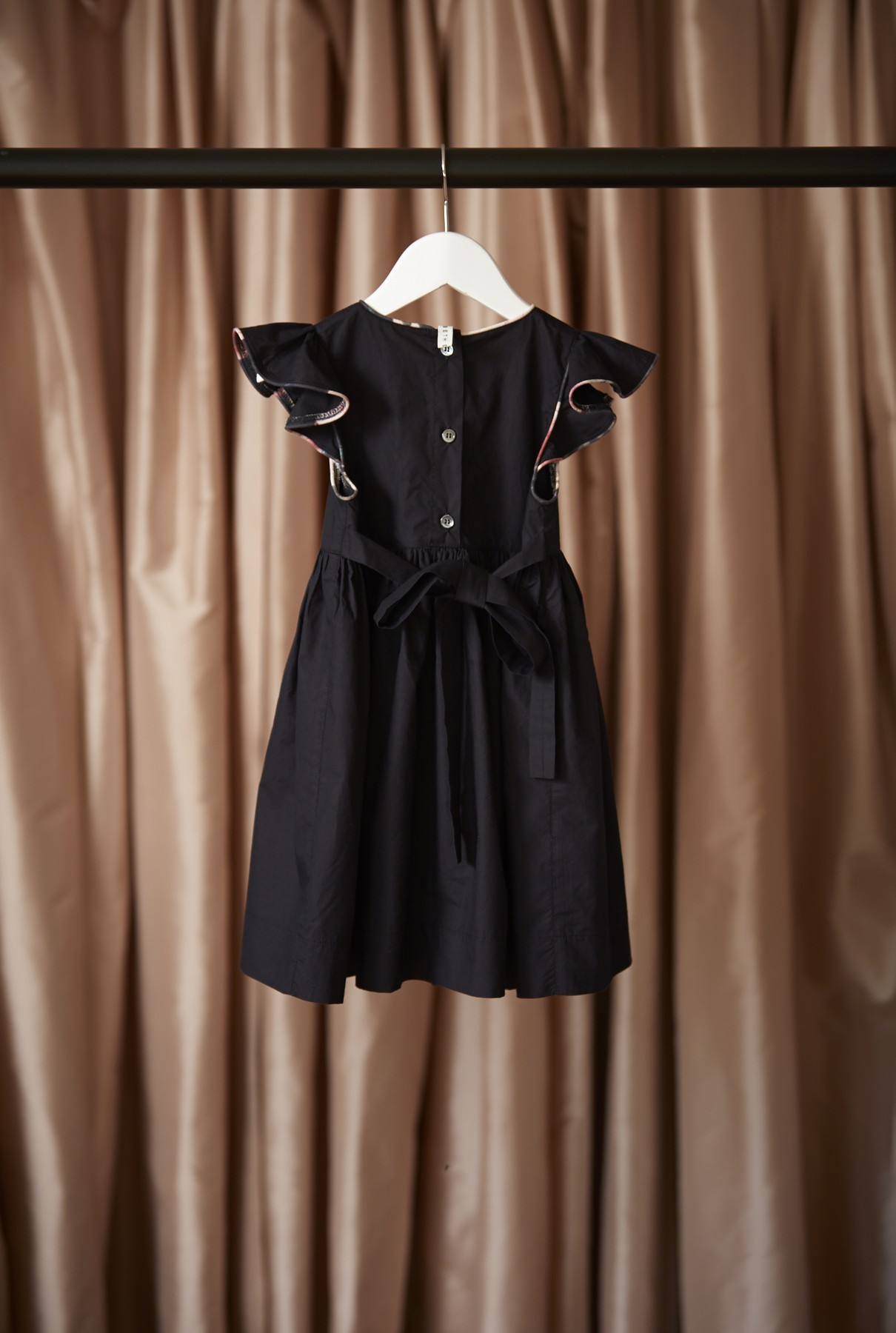 Florence dress/french navy with bloom trim - back